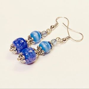 Gorgeous Blue Agate & Cat's Eye Stone Earrings
